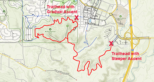 Bluffs Regional Park Trail with Trailhead Locations