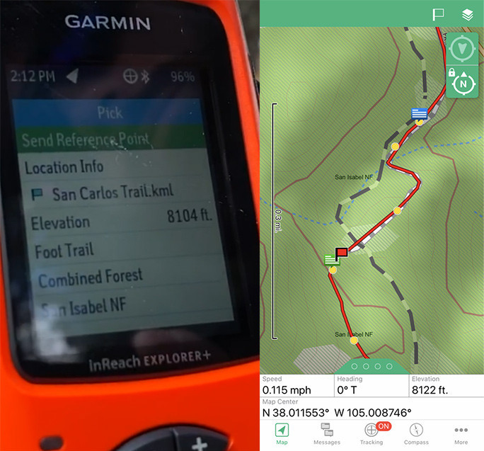 Garmin inReach Trail Elevation Information