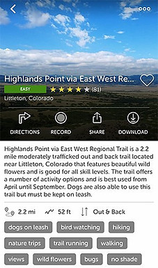 Hiking Trails in Colorado Highlands Point via East West Regional Trail