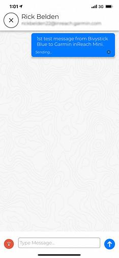 Message from Bivy Stick to Garmin inReach Mini