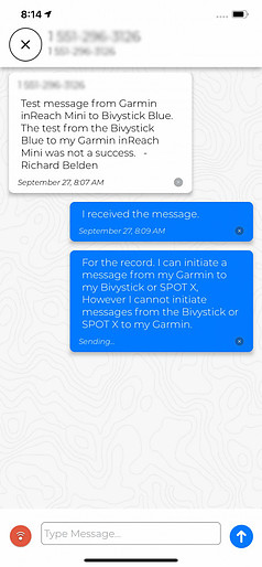 Message from Garmin inReach Mini to Bivy Stick
